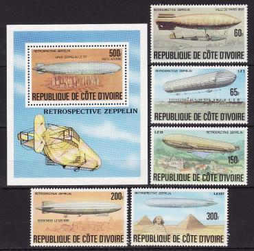 Ivory Coast, 1977, Airships, Zeppelin, 5v, s\s