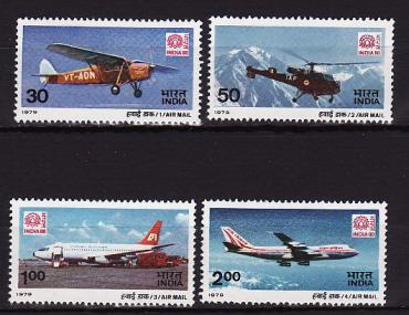 India, 1979, Aviation, Aircraft, Helicopters, 4v