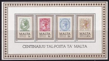 Malta, 1985, 100 years of postal service s\s