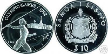Samoa, Olympic-1992, 10$, proof, silver