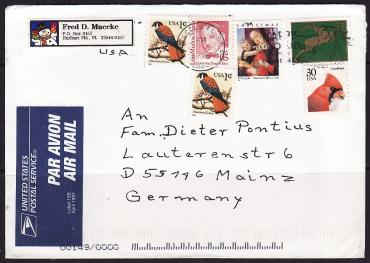 USA, 1997, painting, birds, Airmail envelope