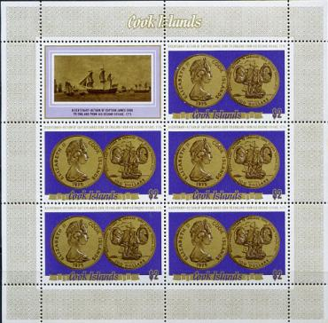 Cook isl., Coins & Ships, sheetlet