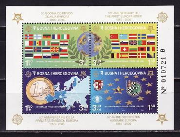 "Bosnia and Herzegovina, 2005, 50 years to the postage stamps ""Europe"", s\s"