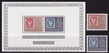Norway, 1972, 100 years of postage stamps, 2v. s\s