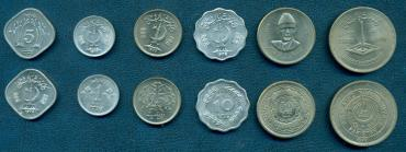 Pakistan, 1976-1977, set of 6 coins