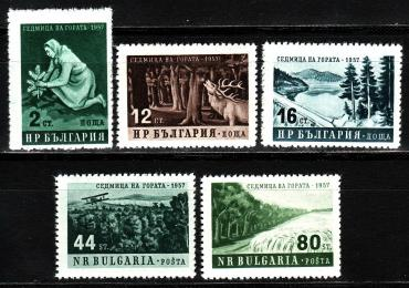 Bulgaria, 1957 Week of the forest, fauna, Airplane, 5v