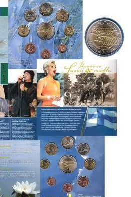 Finland, Set 2007, Eurocoins 1 c- 5 Euro, in booklet
