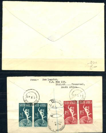 South Africa, UPU, 1949,  2 FDC, real mailed