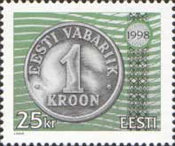 Estonia, 1998, 6 years of reform, Coin 1 cr, 1v