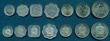 Sri-Lanka, 1975-1978, set of 7 coins