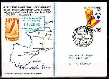 Spain, the world Cup in 1982, the Envelope is sent the airship-mail.