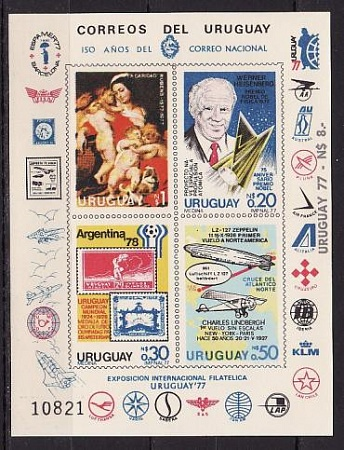 Uruguay, 1977, Airships, Lindbergh Flight, WC 1978, Painting, m\s